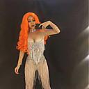 povoljno Party pokrivala za glavu-Egzotična plesna odjeća Kombinezon s drgim kamenjem / Kombinezoni za izlaske / Klubska nošnja Žene Seksi blagdanski kostimi Spandex S resicama / Kristali / Rhinestones Dugih rukava Prirodno