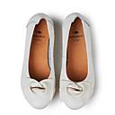 baratos Sapatilhas Femininas-Mulheres Sapatos Pele Napa Primavera / Verão Conforto Rasos Sem Salto Dedo Fechado Branco / Preto / Vinho