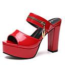 זול סנדלי נשים-בגדי ריקוד נשים נעליים PU אביב קיץ שפיץ ושני חלקים סנדלים עקב עבה לבן / שחור / אדום