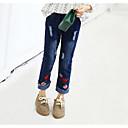 tanie Spodnie i getry-Dzieci Dla dziewczynek Podstawowy Codzienny Solidne kolory Haft Bawełna / Poliester Spodnie Niebieski 100