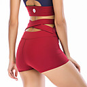 cheap Fitness, Running & Yoga Clothing-Women's Criss Cross Waist Yoga Pants Black Red Royal Blue Sports Solid Color High Rise Shorts Zumba Running Fitness Activewear Breathable Quick Dry Butt Lift Stretchy