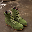 cheap Women's Boots-Women's Fashion Boots Suede Fall & Winter Boots Flat Heel Round Toe Booties / Ankle Boots Red / Green / Khaki