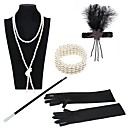 cheap Historical & Vintage Costumes-The Great Gatsby Vintage 1920s Roaring Twenties Costume Women's Flapper Headband Black / Golden+Black / Black / White Vintage Cosplay Party Prom / Feather / Gloves