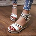 cheap Totes-Women's Comfort Shoes PU(Polyurethane) Summer Sandals Wedge Heel White / Black / Green