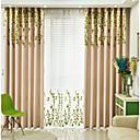 preiswerte Fenstervorhänge-Verdunklungsvorhänge Vorhänge Wohnzimmer Blumen 100% Polyester Stickerei