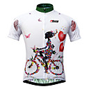cheap Cycling Jerseys-21Grams Women's Short Sleeve Cycling Jersey - White Floral / Botanical Bike Jersey, Quick Dry, Ultraviolet Resistant, Breathable / Stretchy / Italy Imported Ink / Breathable Armpits