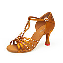 cheap Necklaces-Women's Latin Shoes Satin Heel Cuban Heel Dance Shoes Yellow / Brown / Dark Red