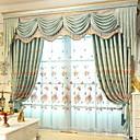 preiswerte Fenstervorhänge-Gardinen Shades Wohnzimmer Blumen / Geometrisch Polyester Stickerei