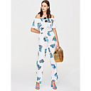 cheap Lip Stain-Women's Jumpsuit - Floral Wide Leg Boat Neck