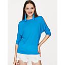 abordables Impresiones-Mujer Tallas Grandes Algodón Camiseta Un Color / Cortado