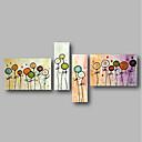 tanie Obrazy olejne-Hang-Malowane obraz olejny Ręcznie malowane - Krajobraz / Kwiatowy / Roślinny Nowoczesne Naciągnięte płótka / Cztery panele / Rozciągnięte płótno