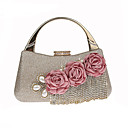cheap Clutches & Evening Bags-Women's Bags Polyester / Alloy Evening Bag Crystals / Flower Black / Silver / Red