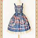billiga Lolitaklänningar-Söt Lolita Klassisk / Traditionell Lolita Vintage Elegant Spets Dam Klänningar Cosplay Röd / Rosa / Bläck blå Ärmlös Ärmlös Midi Kostymer