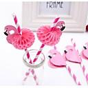 ieftine Pahare Novelty-6pcs flamingo paie 3d paie Bendy flexibile de paine de hârtie de băut de copii ziua de naștere / nunta / piscina partid decorare consumabile
