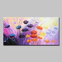 זול ציורי שמן-ציור שמן צבוע-Hang מצויר ביד - מופשט פרחוני / בוטני מודרני כלול מסגרת פנימית / בד מתוח