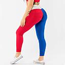 abordables Tocados de Fiesta-Mujer Retazos Pantalones de yoga - Rojo + azul Deportes Bloques Licra Medias / Mallas Largas / Leggings Danza, Running, Fitness Ropa de Deporte Dispersor de humedad, Diseño Anatómico, Levantamiento