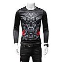 abordables Disfraces de Anime-Hombre Camiseta, Escote Redondo Delgado Bloques / Manga Larga