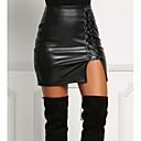 preiswerte Parykopfbedeckungen-Damen Kunstleder Mini Bodycon Röcke - Solide