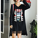 cheap Tools & Accessories-Women's Plus Size Daily Basic Asymmetrical Loose Tunic Dress - Letter Patchwork / Print V Neck Fall Cotton Black XL XXL XXXL / Sexy