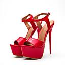 رخيصةأون صنادل نسائية-نسائي Pumps PU الصيف كلاسيكي صنادل منصة أمام الحذاء على شكل دائري مشبك أبيض / أسود / أحمر / الحفلات و المساء