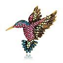 hesapli Moda Broşlar-Kadın's Broşlar Eski Tip Tarz 3D Kuş Hayvan Bayan Eşsiz Tasarım Vintage Her gün fantezi Yapay Elmas Altın Kaplama Broş Mücevher Gökküşağı Uyumluluk Gece Partisi Cadde