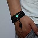 cheap Men's Bracelets-Men's Beads Bracelet Bangles Strand Bracelet Wrap Bracelet - Dragon, Buddha Ethnic Bracelet Black For Daily