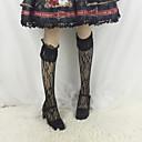 billiga Lolitaklänningar-Strumpor / Strumpbyxor Stilig Vintage Dam Vit / Svart Enfärgad Spets Strumpor Spets Kostymer