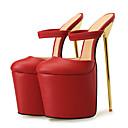 preiswerte Damen Sandalen-Unisex Neuheit Schuhe PU Sommer Sandalen Stöckelabsatz Runde Zehe Weiß / Schwarz / Rot / Party & Festivität