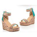 preiswerte Damen Sandalen-Damen Sandalen Sandalen mit Keilabsatz Keilabsatz Kunststoff Sommer Blau / Rosa / Mandelfarben