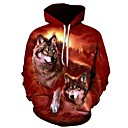 cheap 3D Puzzles-Men's Plus Size Sports Long Sleeve Loose Hoodie - 3D Wolf, Print Hooded Wine 4XL / Fall / Winter
