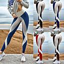 billige Fitness, løbe- og yogatøj-Dame Patchwork Yoga bukser Rød Blå Kakifarvet Sport Farveblok Spandex Højtaljede Tights Leggins Zumba Dans Løb Sportstøj Åndbart Komprimering Push-up bukser Elastisk Tynde / Vinter