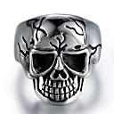 billige Herreringer-Herre Vintage Stil Skulptur Ring - rustfritt Hodeskalle Stilfull, Vintage, Punk Smykker Sølv Til Karneval Gate 9 / 10 / 11 / 12