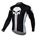 cheap Oil Paintings-ILPALADINO Men's Long Sleeve Cycling Jersey - Black Skull Bike Jersey Top, Breathable Quick Dry Ultraviolet Resistant Terylene / Stretchy / Reflective Strips