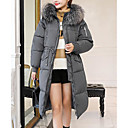 cheap Night Lights-Women's Going out Street chic Solid Colored Maxi Parka, Polyester Long Sleeve Hooded Black / Beige / Gray L / XL / XXL