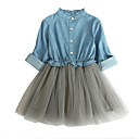 abordables Vestidos de Niña-Niños Chica Bloques Manga Larga Vestido