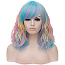 cheap Synthetic Lace Wigs-Wig Accessories Curly Style Middle Part Capless Wig Red Rainbow Synthetic Hair 16 inch Women's Case / Fashionable Design Red / Blue Wig Short Halloween Wig