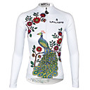 cheap Oil Paintings-ILPALADINO Women's Long Sleeve Cycling Jersey - White Peacock Plus Size Bike Jersey Top, Breathable Quick Dry Ultraviolet Resistant 100% Polyester Terylene / Stretchy / Reflective Strips