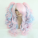 cheap Synthetic Capless Wigs-fashion 70cm long blue mixed pink wavy ponytails high quality synthetic lolita party cosplay wig