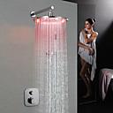 billige Baderomskraner-Dusjkran - Moderne Krom Vægmonteret Messing Ventil Bath Shower Mixer Taps / Enkelt håndtak tre hull