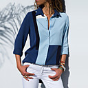 billige Beklædning-Dame - Farveblok Basale Bluse