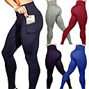 cheap Fitness, Running & Yoga Clothing-Women's Pocket Yoga Pants Blue Dark Gray Burgundy Sports Solid Color Spandex High Rise Tights Leggings Zumba Dance Running Activewear Butt Lift Tummy Control Power Flex Stretchy Skinny Slim / Winter