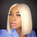 cheap Synthetic Lace Wigs-Human Hair Lace Front Wig Bob Layered Haircut style Brazilian Hair Straight Blonde Wig 130% Density with Baby Hair Hot Sale 100% Virgin Unprocessed Bleached Knots Blonde Women's Short Others Human