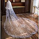 preiswerte Parykopfbedeckungen-Zweischichtig Blumen Stil / Spitzen-Saum Hochzeitsschleier Kathedralen Schleier mit Applikationen Spitze / Tüll