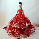 preiswerte Marionetten-Kleider Kleid Für Barbie-Puppe Rot Tüll / Spitze / Seide / Baumwolle Kleid Für Mädchen Puppe Spielzeug