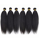 cheap Human Hair Weaves-6 Bundles Brazilian Hair kinky Straight Human Hair Natural Color Hair Weaves / Hair Bulk / Bundle Hair / One Pack Solution 8-28 inch Natural Natural Color Human Hair Weaves Machine Made Silky