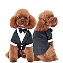 preiswerte Hundekleidung-Katze Hund Smoking Hundekleidung Schleife Schwarz Baumwolle Kostüm Für Haustiere Herrn Niedlich Cosplay Hochzeit