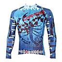 tanie Stroje rowerowe-ILPALADINO Męskie Długi rękaw Koszulka rowerowa - Niebieski Rower Dżersej Top Keep Warm Polarowa podszewka Odporność na promieniowanie UV Sport Zima Elastyna Kolarstwo górskie Kolarstwie szosowym