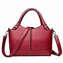 cheap Totes-Women's Bags PU(Polyurethane) Tote Solid Color Purple / Brown / Wine