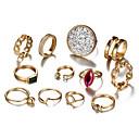 זול Fashion Ring-בגדי ריקוד נשים קריסטל סגנון וינטג' טבעות לפרקי האצבעות טבעת הגדר - טיפה הצהרה, בוהמי, פאנק זהב עבור מסיבת ערב נשף מסכות / 12pcs