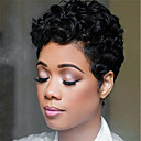 cheap Synthetic Capless Wigs-Virgin Human Hair / Remy Human Hair Lace Front Wig Brazilian Hair Water Wave / Deep Curly Wig Bob Haircut / Layered Haircut 130% Natural Hairline / Plait Hair / 100% Virgin Natural Women's Short